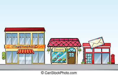 Shops - Illustration of many stores on street