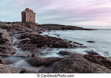 Shore by Portencross Castle - Rock shore by Portencross ...