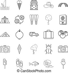 Shore icons set, outline style
