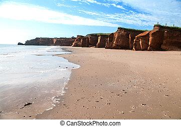 Shore line at Dune de Sud on Iles De La Madeliene
