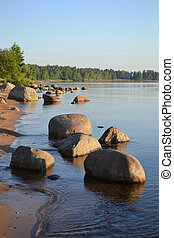 Shore of Lake Ladoga in the early morning
