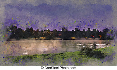 Shore of lake or pond at night watercolor sketch -...