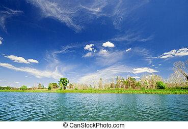 Shore of lake under sky