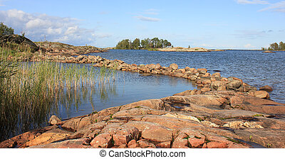 Shore of Lake Vanern in Vita Sannar, Sweden.