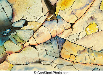 Shoreline #5 - a watercolor and ink painting of a rocky...