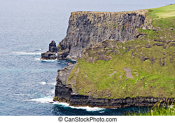 Shoreline and Cliffs - The Cliffs of Moher in County Clare,...