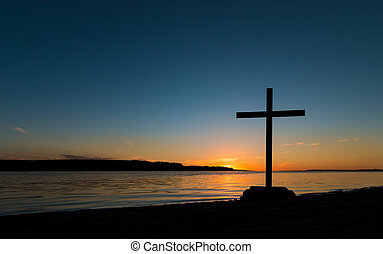 Shoreline Cross Sunset