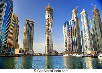 shoreline., felhőkarcoló, város, modern, perzsa, faragott, ...