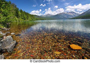 shoreline, gleccser, -, kintla, tó, np