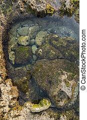 ocean water creating pools of water between tides