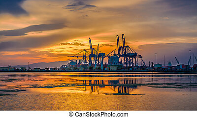 A beautiful sunset over the port of Djibouti on the Red sea