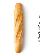Short baguette. Topview. Isolated on a white.