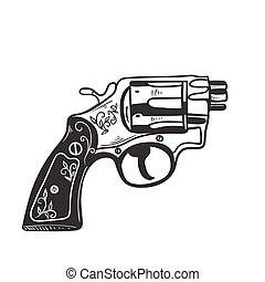 Short-barreled revolver isolate on a white background. Vector graphics.
