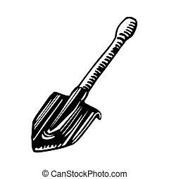 short bayonet sapper shovel, tool of a tourist, sapper & scout, for logo or emblem