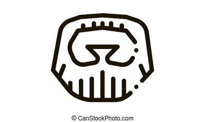 Short Beard Mustache Icon Animation. black Short Beard Mustache animated icon on white background