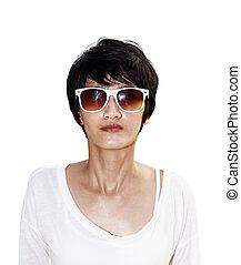 Short black hair Asian woman isolated