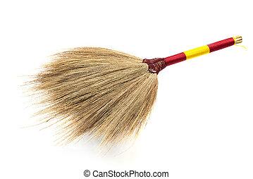 Short broom on white background