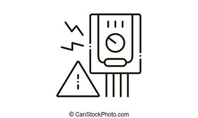Short Circuit Icon Animation. black Short Circuit animated icon on white background