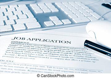 short depth of field focus on a job application