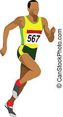 short-distan, runner., přát- si velmi rozestup