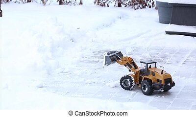 Short film of working radio controlled model excavator car....