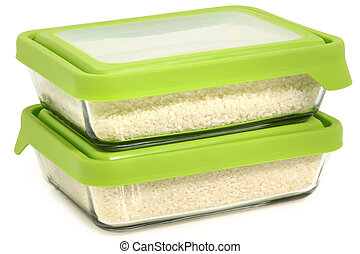Short Grain White Rice in Glass Storage Containers