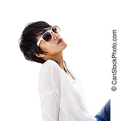Short hair Asian woman with sunglasses isolated