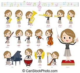 Short hair black high necked women classic music
