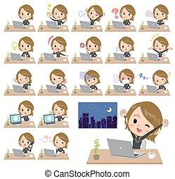 Short hair black high necked women desk work