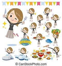 Short hair black high necked women food festival