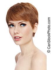 Short haircut - Portrait of young beautiful woman with...