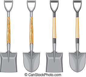 Illustration of a short handle shovel and spade. The vector format is three spot colors and is easy to edit and separate. Wooden handle and fiberglass handle included.