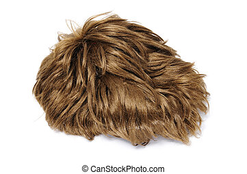 short heart wig - a brown short heart wig isolated on a...