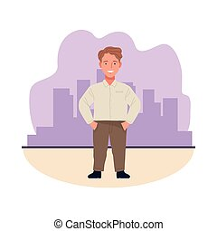 short man perfectly imperfect character icon vector illustration design