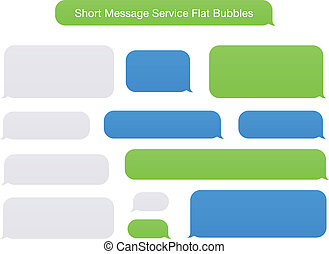 Illustration of SMS Flat Bubbles green, blue and gray used on phone and tablet