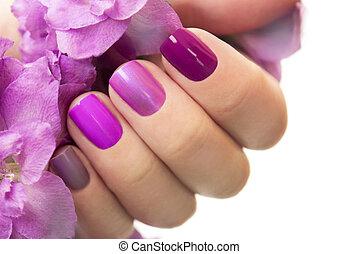 Short purple maroon manicure.