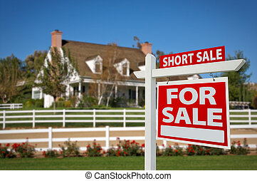 Short Sale Home For Sale Real Estate Sign in Front of New House.