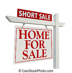 Short Sale Real Estate Sign Isolated on White - Left Facing.