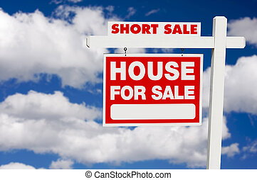 Short Sale Real Estate Sign on Clouds