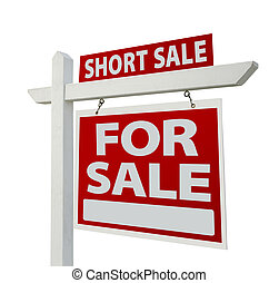 Short Sale Real Estate Sign Isolated on White - Right Facing.