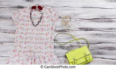 Short sleeve blouse and purse. Light blouse and lime bag....