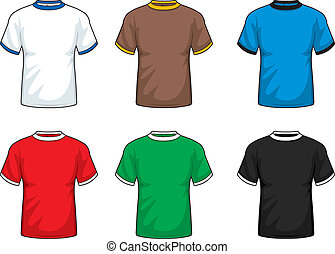 A variety of different colored short sleeve shirts.