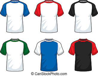 A variety of short sleeve shirts in various colors.