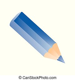 Short small pencil icon. Blue color pencil