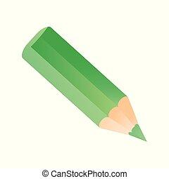 Short small pencil icon. Green colorful pencil