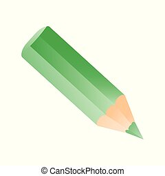 Short small pencil icon. Green colorful pencil