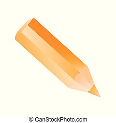 Short small pencil icon realistic style. Orange colorful pencil