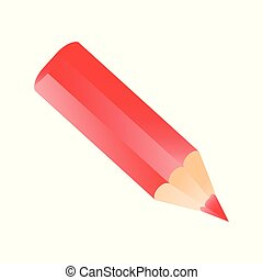 Short small pencil icon realistic style. red colorful pencil