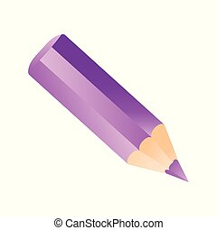 Short small pencil icon realistic style. White colorful pencil