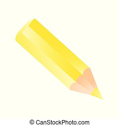 Short small pencil icon. Yellow color pencil